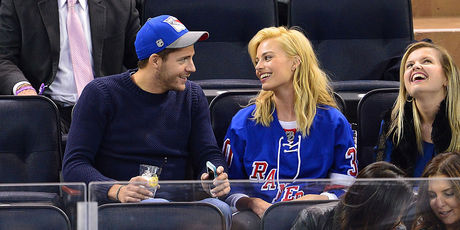 /Tom Ackerley and Margot Robbie attend the Philadelphia Flyers vs New York Rangers game at Madison Square Garden on November 19, 2014 in New York City. Photo / Getty