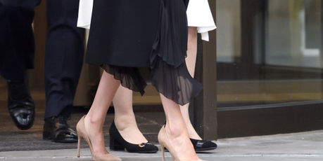 A celebrity stylist believes Markle's big shoes were likely chosen on purpose. Photo / Getty Images
