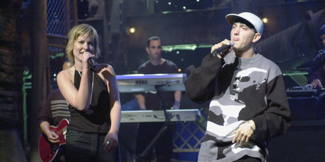 On stage with Eminem in 2000. Photo / Supplied