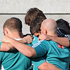 Forward pack at the New Zealand Rugby team captains run as they prepare for the Bledisloe Cup test. Photo / NZPA