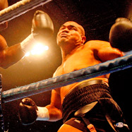 David Tua takes a shot at Friday ''The 13th'' Ahunanya. Photo / Dean Purcell
