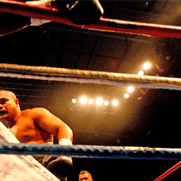 Friday ''The 13th''Ahunanya fall after taking a hit from David Tua. Photo / Dean Purcell