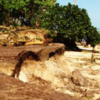 A beach eroded after the tsunami. Photo / Cherelle Jackson