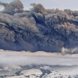 Smoke and steam hangs over the volcano under the Eyjafjallajokull glacier in Iceland. Photo / AP