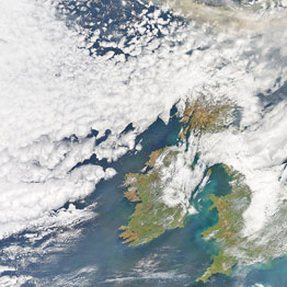 This image from the University of Dundee shows the volcanic ash plume from Iceland, top left, to the north of Britain. Photo / AP