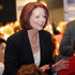 Prime Minister Julia Gillard greets voters at a community forum at the Broncos League Club in Brisbane, Australia. Photo / Getty Images.