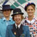 Pilot, co-pilot and cabin crew in period uniform after the last commercial flight of an Air New Zealand B737 in 2001. Photo / Christchurch Star