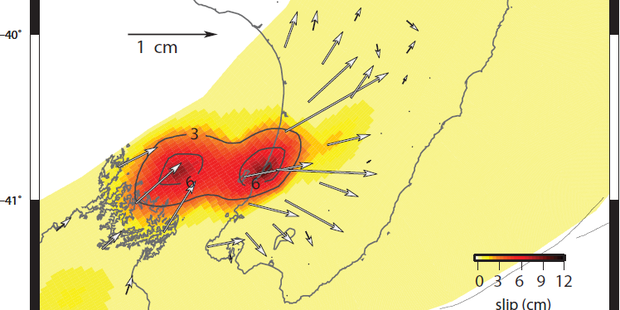 The Kapiti slow-slip event's movement from January to May. The most extreme movement, depicted by the darkest colour, is under Otaki and north of Marlborough Sounds. Image / Geonet