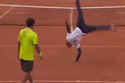 French tennis star Gael Monfils, seen here mid-flip, is known as one of the biggest entertainers on the circuit.