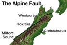 The Apline Fault stretches 650km along the spine of the south island from Marlborough to Fiordland.