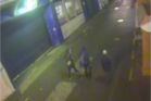 Steven Churchis and associates in Mills Lane on the night of the incident, as caught on a CCTV camera.