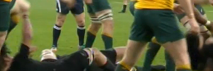 David Pocock's boot making contact with Richie McCaw's head (far left).