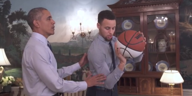 President Obama coaches Golden State Warriors star Stephen Curry.