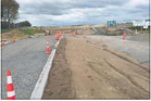 Roadworks showing the two-lane alignment for Te Okuroa Drive currently being built past Northpower's depot at Papamoa East.