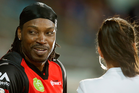 Chris Gayle in his interview with Mel McLaughlin. Photo / Getty
