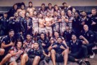 The Warriors took time to celebrate Issac Luke's 200th NRL match with a group photo following Saturday's emphatic 50-14 victory over Newcastle. Photo/Instagram