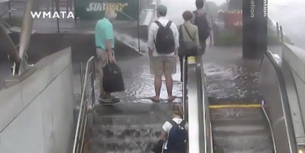 Loading The flooding poured into Cleveland Park Metro Station. Photo / WMTA
