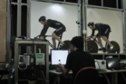 NZ sprinters test out the new bikes in a wind tunnel.