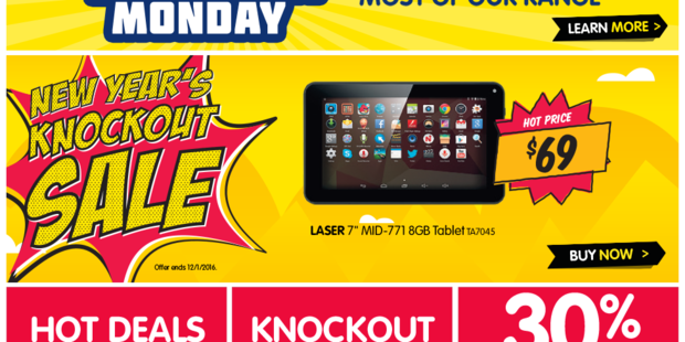 Dick Smith's website advertises a Samsung Galaxy Tab along with other electronics as part of its one-day sale.