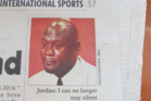 The image used for a story in a Malawi newspaper depicting a crying Michael Jordan. Photo / Twitter