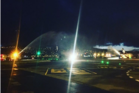 Wellington Airport celebrates a mid-flight proposal with a water arch / Supplied