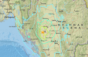 Map shows the epicentre of the earthquake in central Myanmar. (USGS)