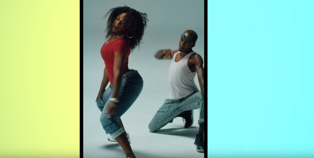 A still of Serena Williams twerking in the dance video she made with airline Delta.