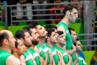 Iranian sitting volleyball player Morteza Mehrzadselakjani towers over his Paralympic teammates. Photo / Twitter