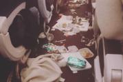 The result of horrific turbulence during dinner service. Photo / Reddit.