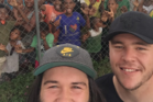 Aaron Woods and David Klemmer meeting some of the locals in Papua New Guinea. Photo / Instagram