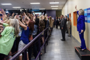 Hillary Clinton waves as the crowd takes selfies during a campaign stop in Orlando. Photo / Twitter