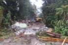 DoC has all but finished demolishing John Scott's Aniwaniwa Visitors' Centre near Lake Waikaremoana. PHOTO SUPPLIED