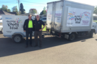 Generous: Food Rescue manager John Payne with Tauranga Party Hire owner James Mollison who has donated the use of truck and chiller trailer. Photo/Supplied.