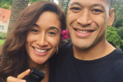 Maria Tutaia with now fiance Israel Folau. Photo / Twitter