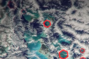 The hexagonal clouds which are unique to the region. Photo / YouTube / CNN