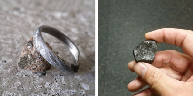 A man made a truly unique engagement ring by carving one by hand out of a meteorite rock. Photo / Chadmanx Imgur