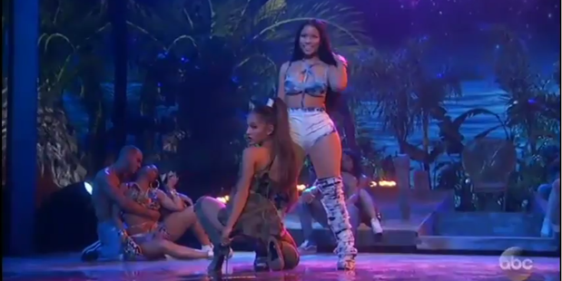 Ariana Grande and Nicki Minaj at the end of their Parris Goebel-choreographed dance at the American Music Awards.