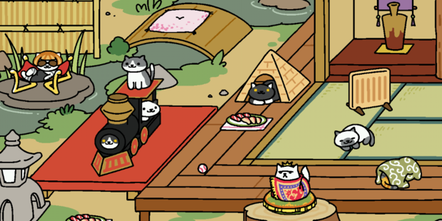 A certain Herald staffer has jumped aboard the Neko Atsume craze. Photo / Anonymous Herald employee.