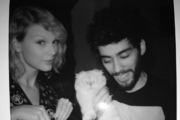 Taylor Swift and Zayn Malik celebrated their song's release by posing with her cat Meredith for Instagram. Photo/Instagram