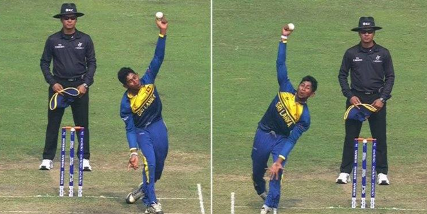 Kamindu Mendis bowling with either arm. Photo / Facebook