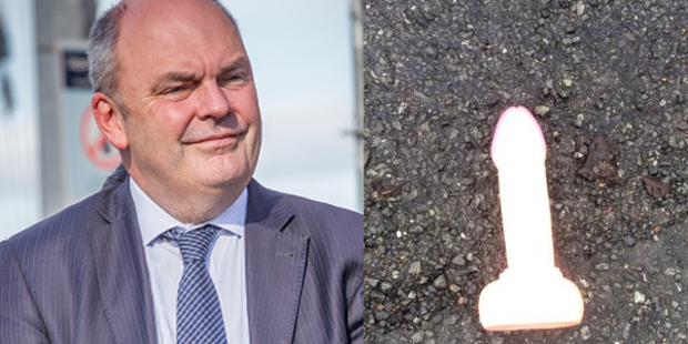 Steven Joyce was struck by a flying sex toy thrown by a protester.