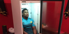 Julian Savea cools off in a fridge. Photo / Twitter