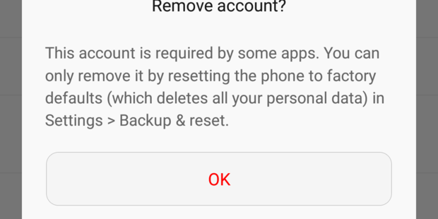 When I tried to remove my Google account in Android Settings, I ran into this dialog. Screenshot / Juha Saarinen.