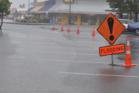 Heavy surface flooding has closed roads in Hokitika. Photo / Hokitika Guardian