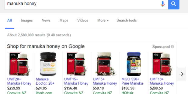 An example of using Google Shopping to search for manuka honey.