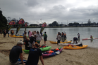 Swimmers finished the 20km event from Waiheke Island at Judges Bay, Parnell. Photo / Supplied