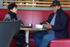 A covert police photograph of Yixin Gan and Mosese Uele meeting at McDonald's. Photo / Supplied.