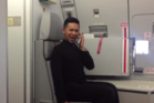 Assraf Nasir, an air steward for Malaysian carrier Air Asia X, was caught on film performing the impressive Britney Spears routine inside an empty Airbus A330. Photo / Twitter, @FarhanRzman