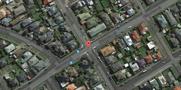 Police attended a house fire near the intersection of Moreau Street and Richardson Street in Dunedin. Photo / Google