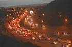 Traffic backed up on the Northwestern motorway after the buses crashed. Photo / NZTA
